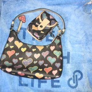 Dooney & Bourke black & tan bag and case set 🌈💕